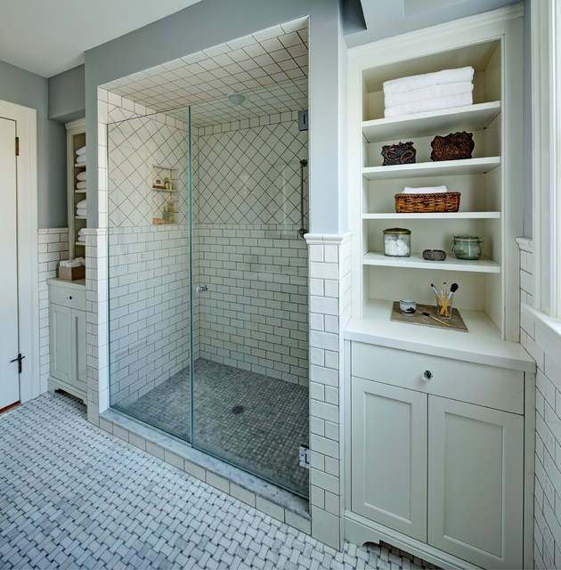 Classic white master bath - Traditional - Bathroom - newark - by Tracey Stephens Interior Design Inc