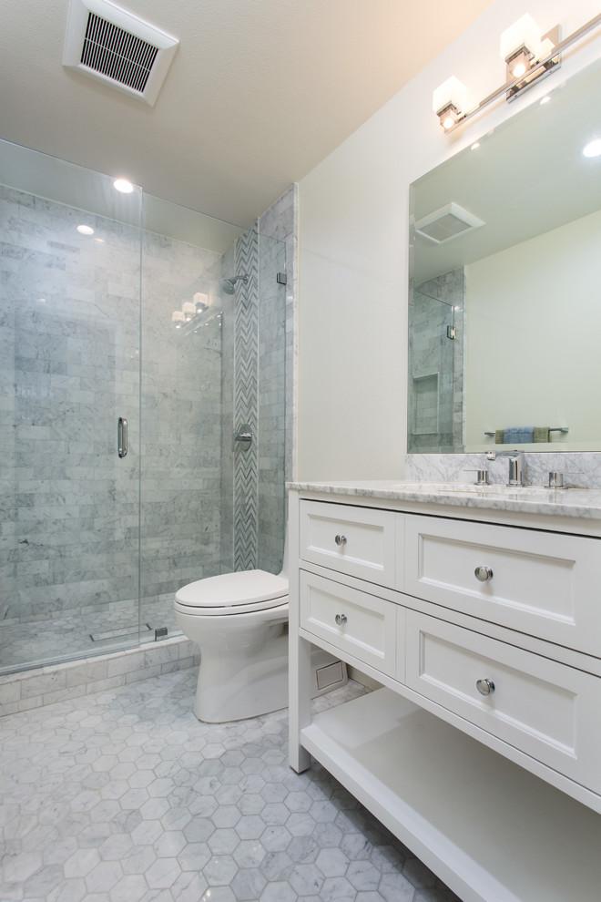 Classical Carrara Marble Bathroom In Oak Park Traditional Bathroom Los Angeles By Metropolis Drafting And Construction Inc