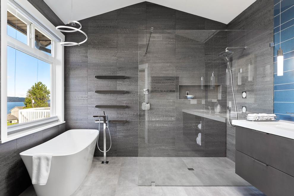 Clean and Contemporary Mukilteo Master Bath - Contemporary ...