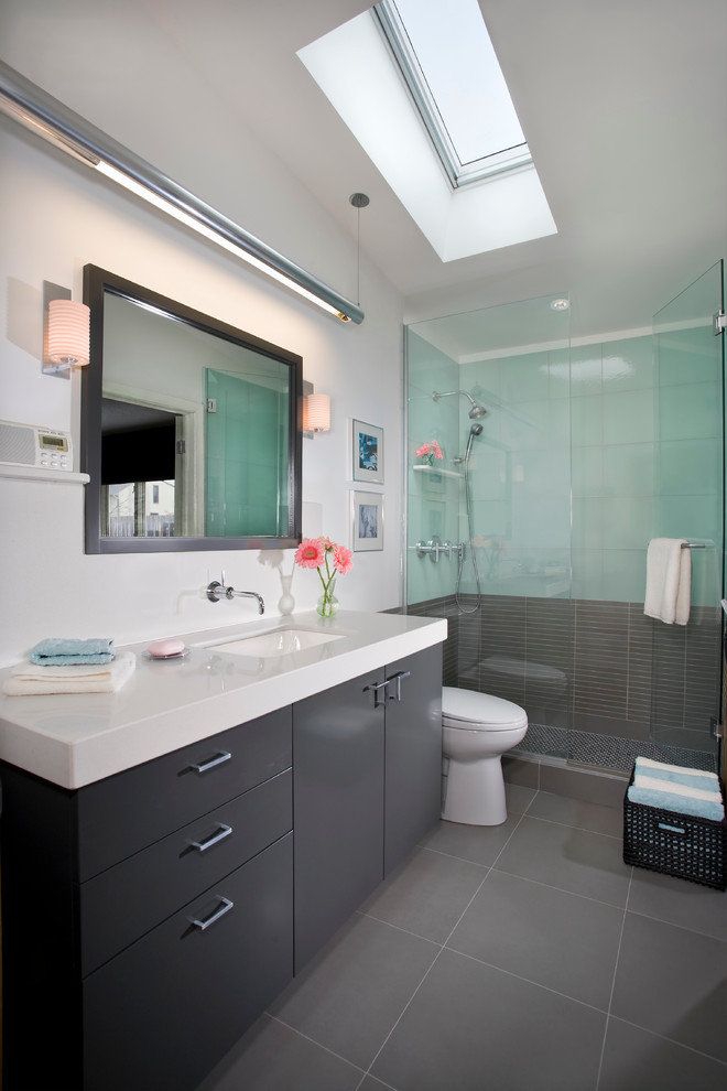 Example of a trendy gray floor alcove shower design in Minneapolis with an undermount sink, flat-panel cabinets and gray cabinets