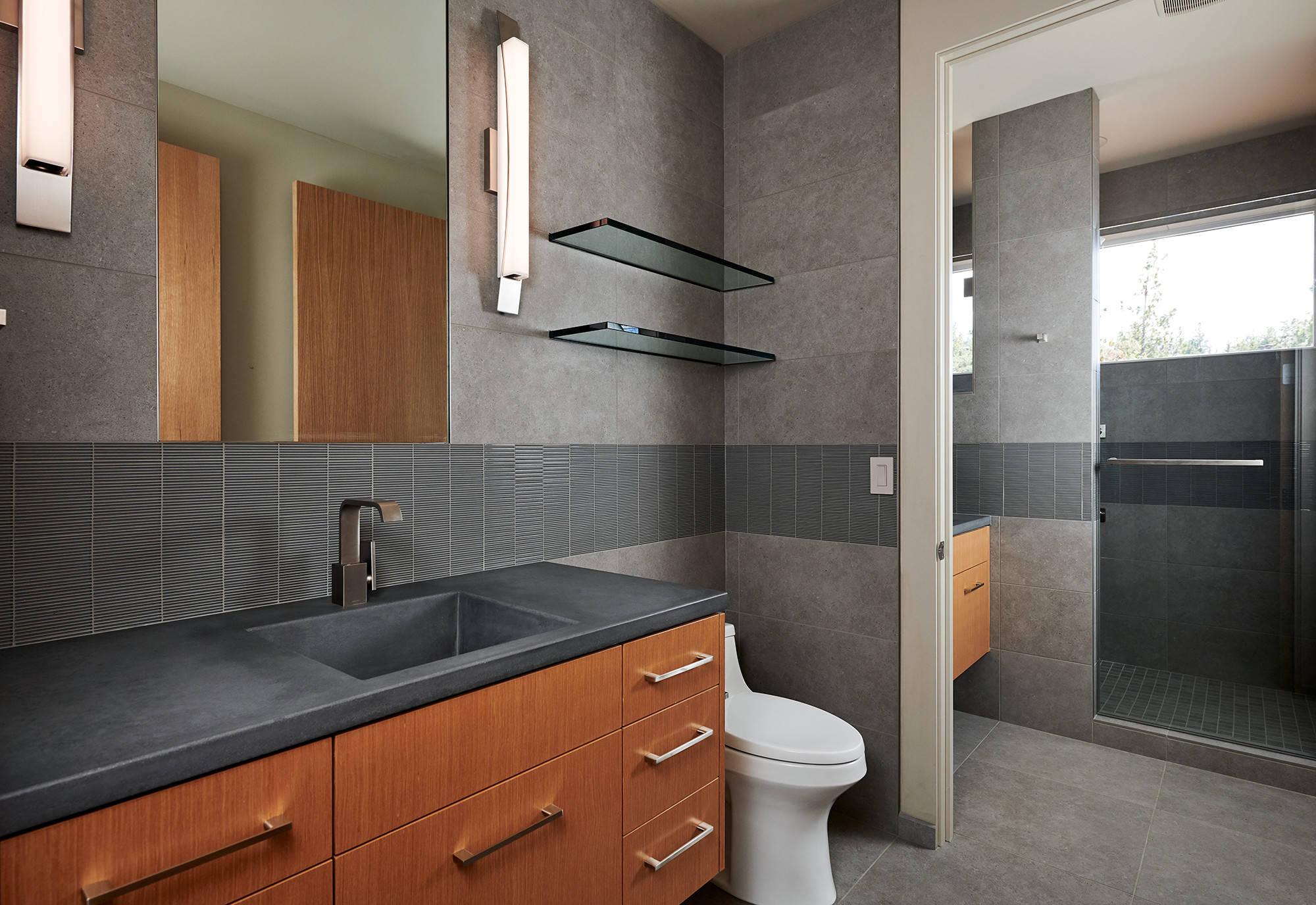 Bathroom With Concrete Countertops
