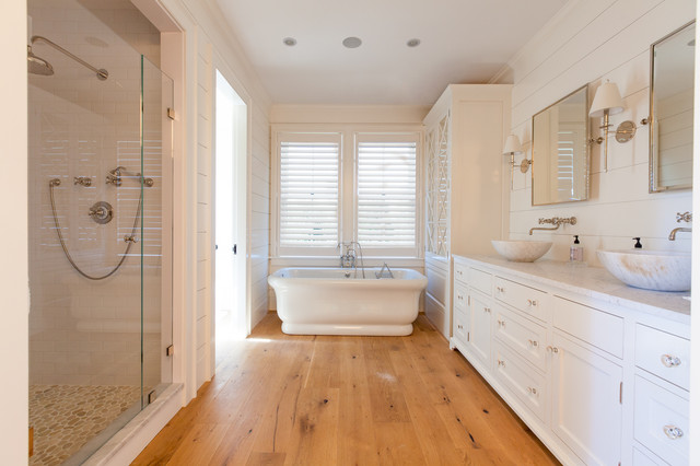 Inspiration For A Large Beach Style Master White Tile And Subway Tile Medium Tone Wood Floor
