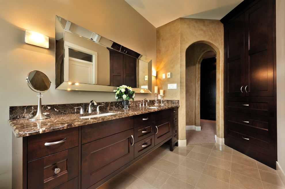 Bathroom - traditional bathroom idea in Vancouver with granite countertops and brown countertops