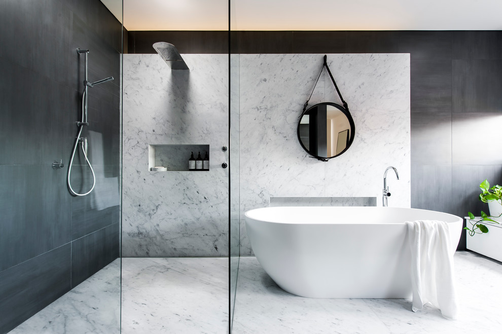 Example of a large trendy master gray tile and marble tile ceramic tile bathroom design in Sydney with gray walls