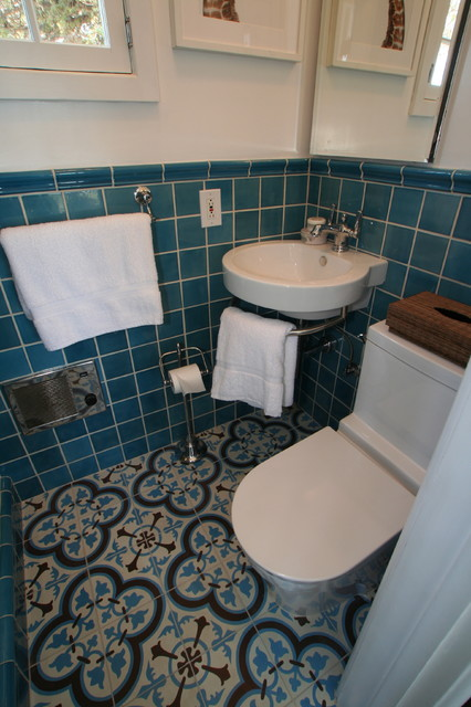 Cluny Cement Tiles For A Small Bathroom Traditional