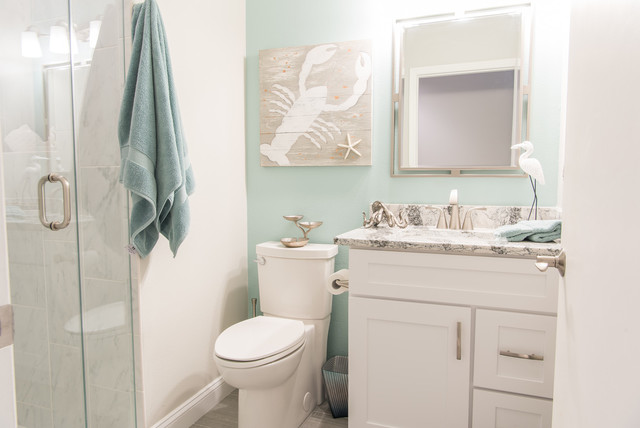 Coastal Grey, Blue & White Guest Bath - Coastal - Bathroom - Other ...