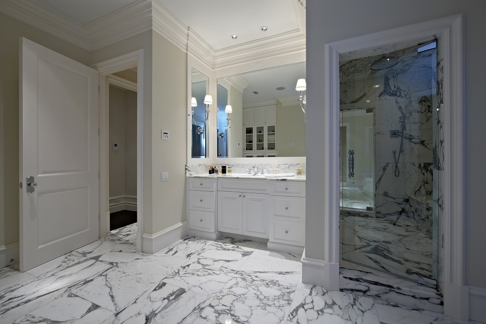 Example of a beach style bathroom design in Tampa