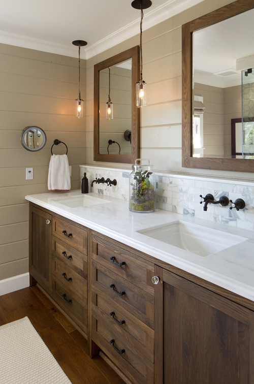 Contemporary Farmhouse Bathroom in Custom Home in Rochester NY