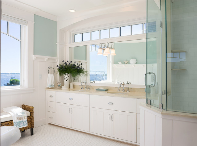 Benjamin moore palladian blue bathroom - Coastal Victorian Renovation Victorian Bathroom