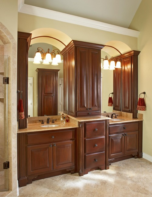 "How tall are the two vanity sinks and the center cabinet countertops? Are the sinks at 36"" high?"