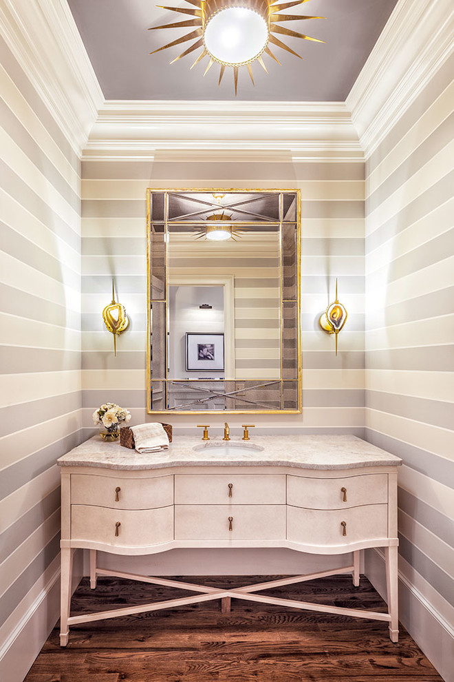 Mid-sized transitional dark wood floor bathroom photo in Other with furniture-like cabinets, an undermount sink, marble countertops and white cabinets