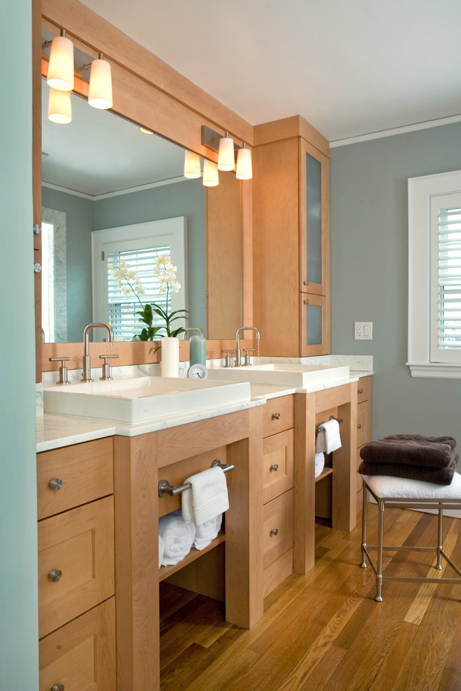 Bathroom - contemporary bathroom idea in Boston with a vessel sink, shaker cabinets and medium tone wood cabinets