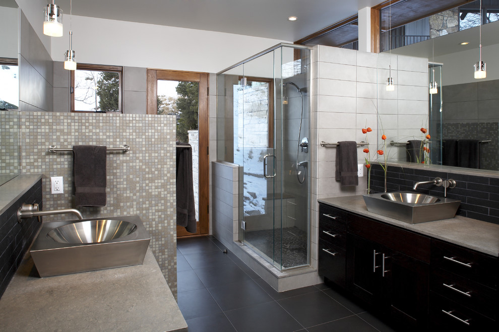 Minimalist mosaic tile bathroom photo in Denver with a vessel sink