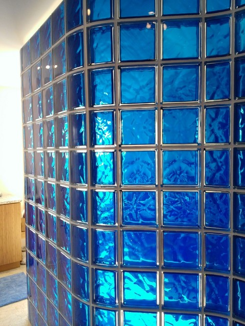 Colored And Curved Glass Block Shower Middleton Wisconsin