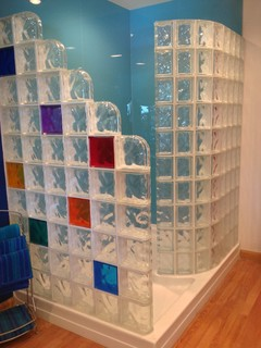 Colored high gloss shower wall panels and glass block shower Columbus Ohio - Contemporary ...