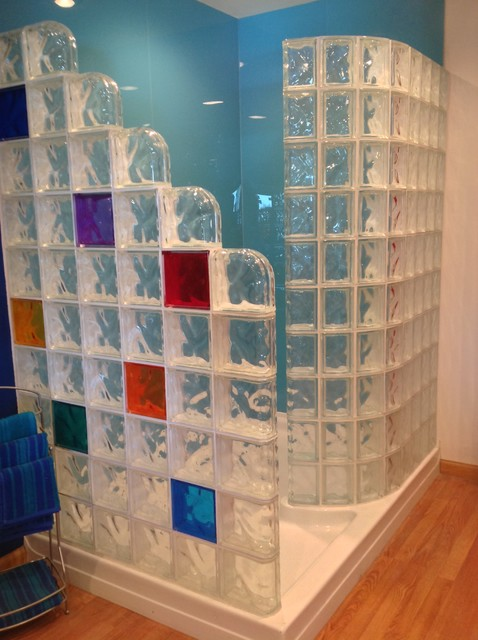 Colored high gloss shower wall panels and glass block for Acrylic block shower walls