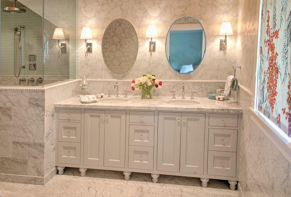 Bathroom - large traditional master blue tile and glass tile marble floor bathroom idea in Portland with an undermount sink, furniture-like cabinets and marble countertops
