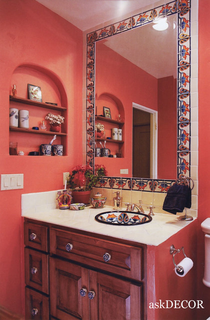 Colorful mexican tile surround the built in mirror - Mexican home decor ideas ...