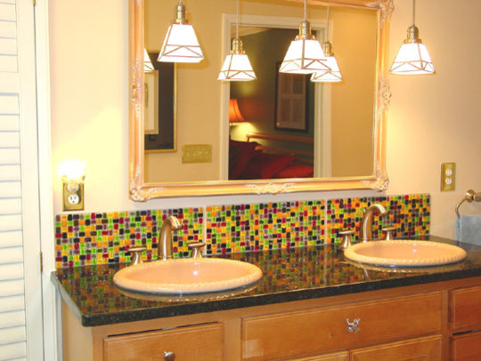 Colorful Mosaic Backsplash Contemporary Bathroom