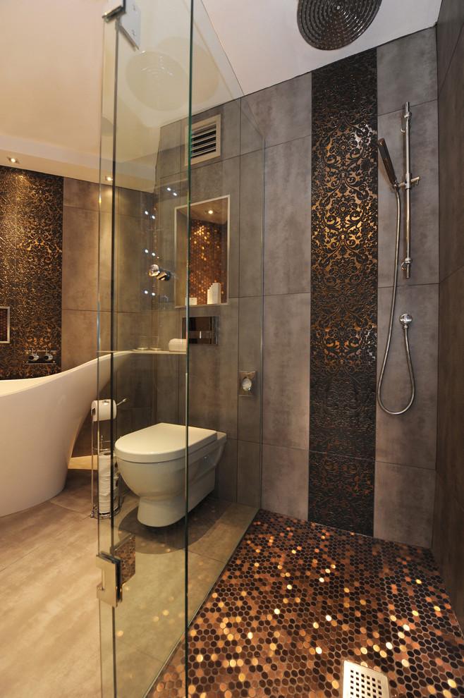 Trendy mosaic tile freestanding bathtub photo in Belfast