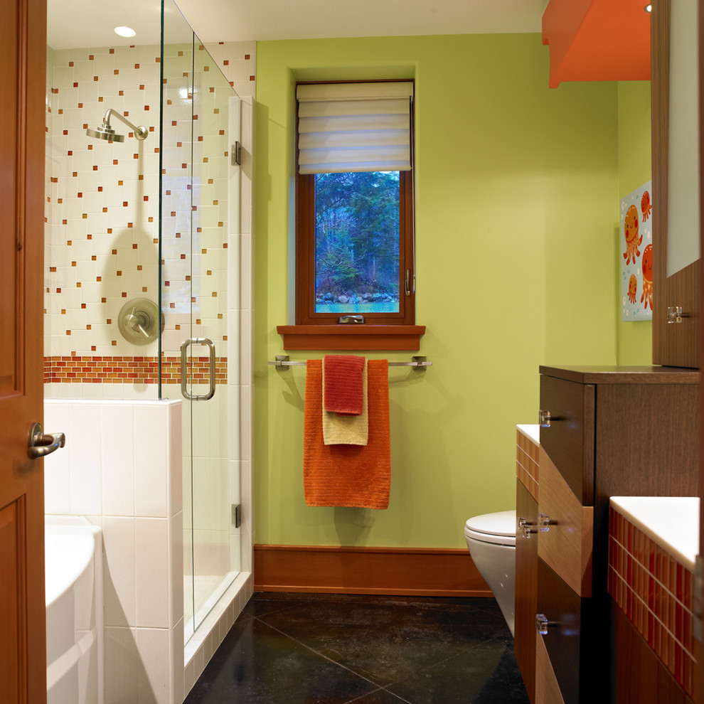 Bathroom - modern red tile bathroom idea in Vancouver with green walls