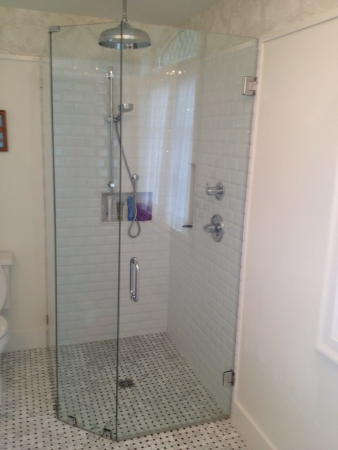 Compact Curbless Corner Shower Greater Vancouver