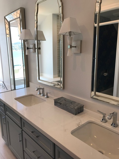 Inspiration for a large timeless master gray floor bathroom remodel in San Francisco with recessed-panel cabinets, gray cabinets, gray walls, an undermount sink, marble countertops and white countertops
