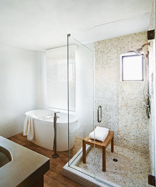 modern badezimmer by stockett tile granite company - Dusche Kieselsteinboden