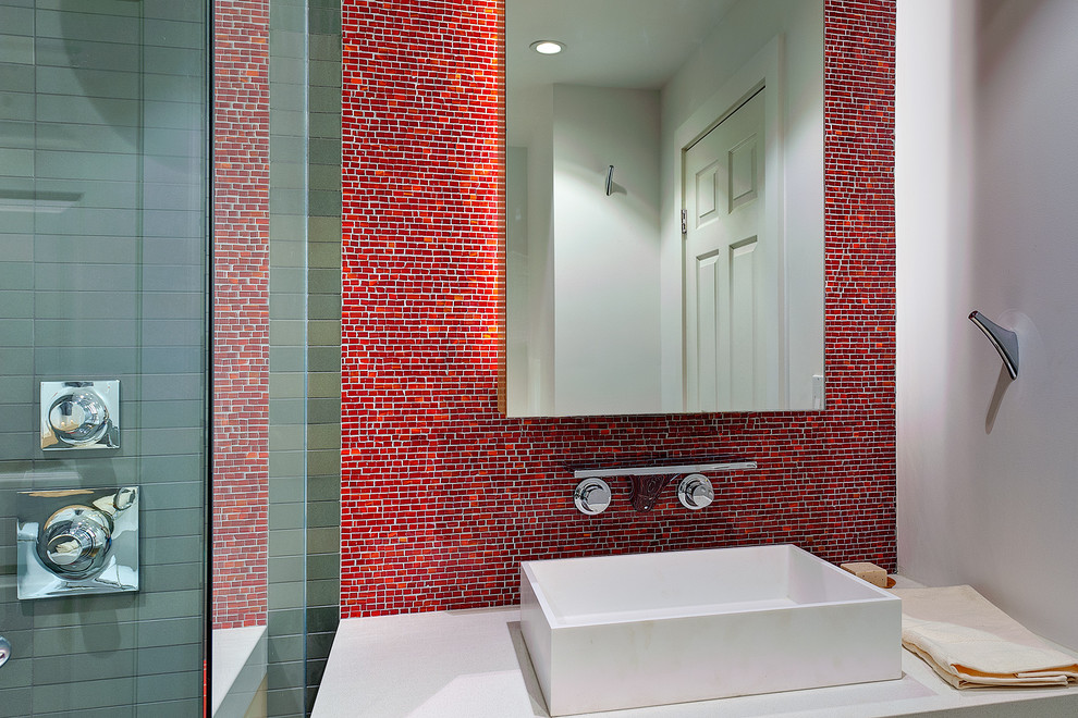 Example of a mid-sized minimalist master red tile and mosaic tile alcove shower design in San Francisco with a vessel sink, flat-panel cabinets, white walls, quartz countertops and a hinged shower door