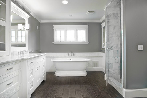 Tile wood floors are great alternative to natural wood for Grey wood floor bathroom