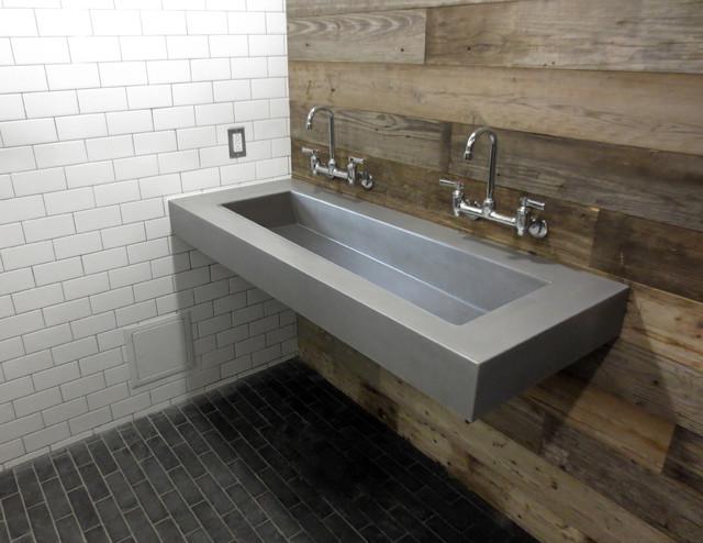 """Concrete ADA 60"""" Compliant Bathroom Sink - Contemporary - Bathroom - New York - by Trueform Concrete"""