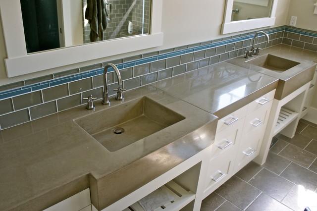 Concrete Bathroom Vanity with Integral Sinks contemporary-bathroom