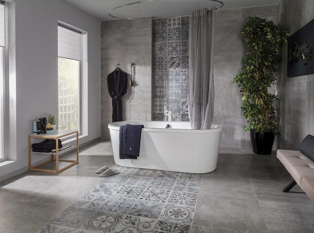 Concrete Look Tiles Antique Silver Contemporary Bathroom