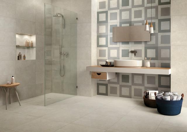 Concrete tile bathroom