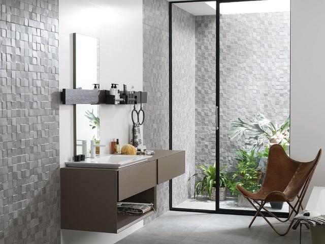 Concrete Look Tiles   Mosaico Rodano Silver industrial bathroom. Concrete Look Tiles   Mosaico Rodano Silver   Industrial