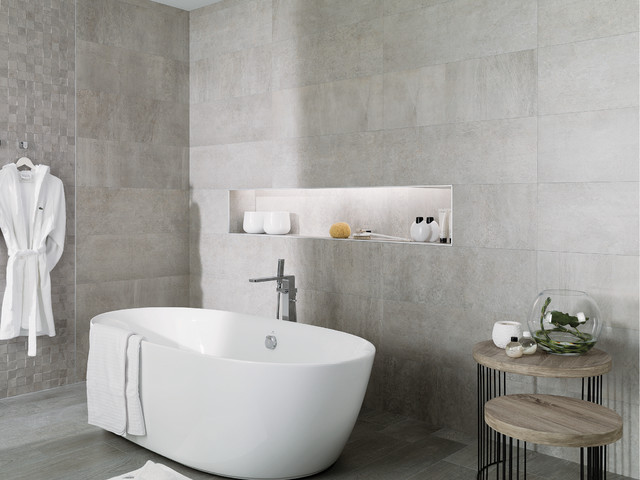 Concrete look tiles rodano acero industrial bathroom for Salle de bain beton cire