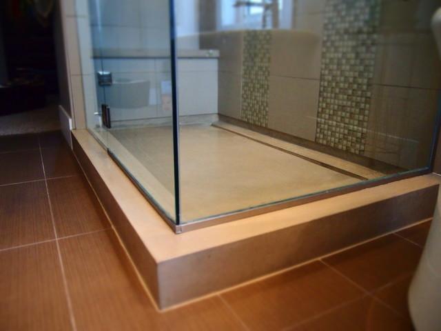 Concrete shower pan for Concrete bathroom floor