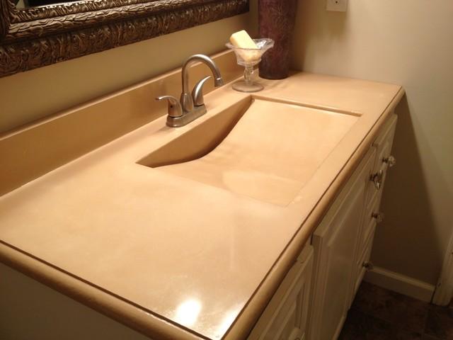 Concrete Sink With Slot Drain Modern Bathroom