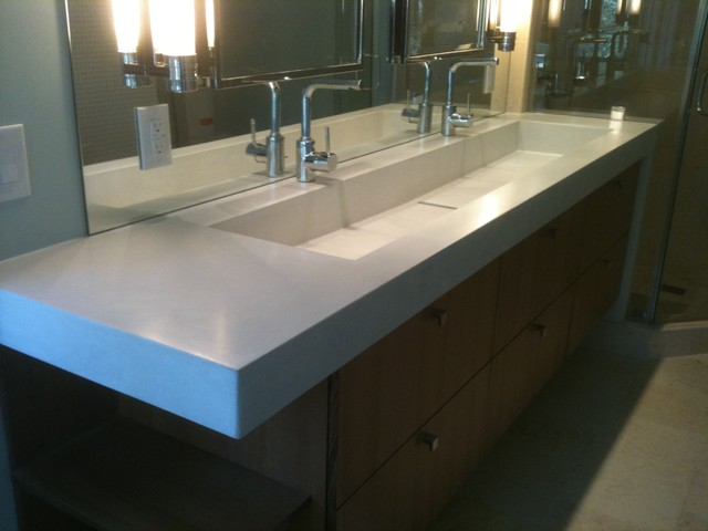 Concrete Trough Sink Contemporary Bathroom
