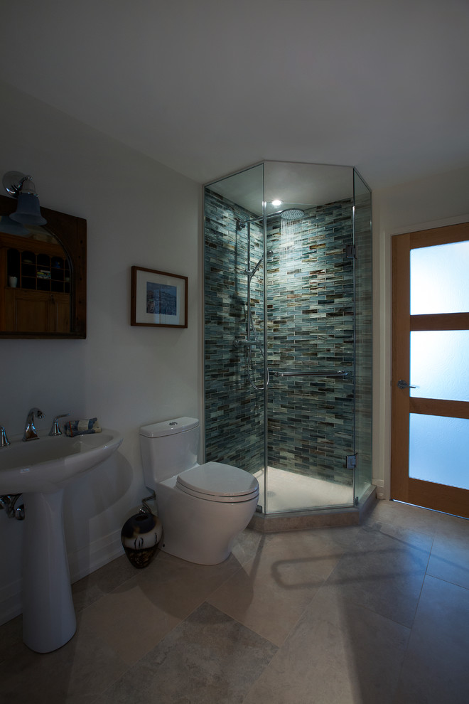 Example of a small trendy 3/4 blue tile and mosaic tile corner shower design in Toronto