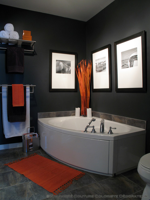 Condo in color contemporary bathroom for Orange and grey bathroom accessories