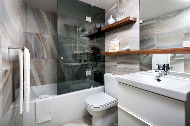 Example of a mid-sized trendy multicolored tile bathroom design in Toronto  with an integrated