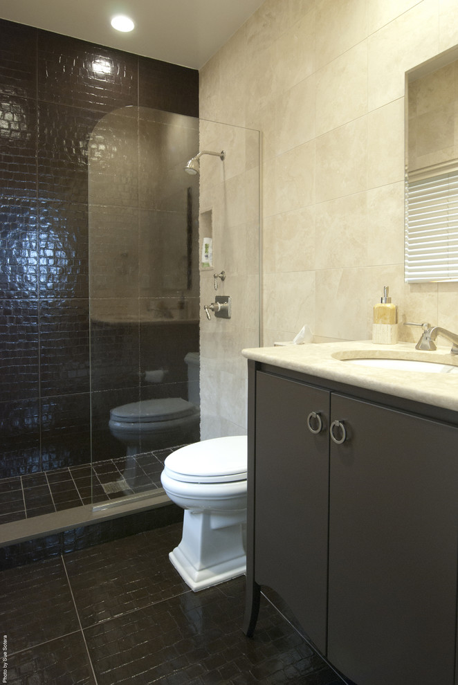 Bathroom - contemporary brown tile bathroom idea in New York with flat-panel cabinets and brown cabinets