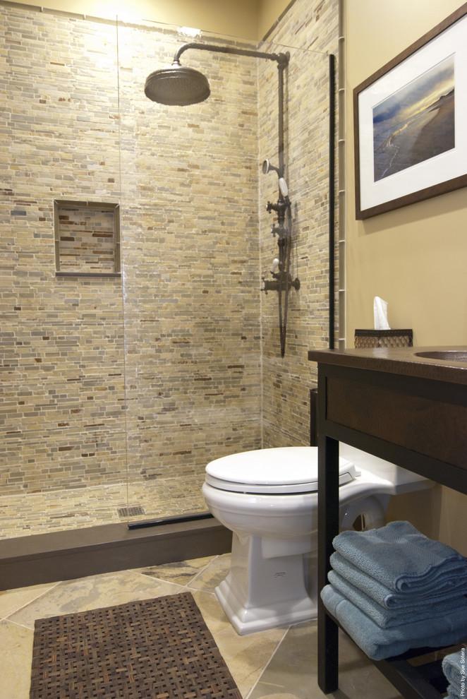 Trendy stone tile bathroom photo in New York