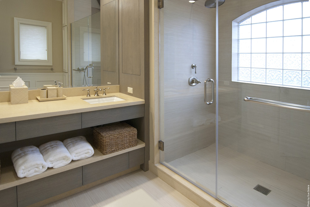 Inspiration for a contemporary bathroom remodel in New York with an undermount sink