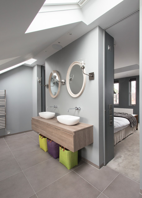 Loft master ensuite contemporary bathroom london for Bathroom interior design london