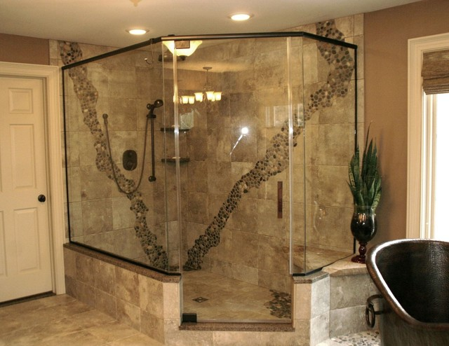 Rustic Pebbled Shower Contemporary Bathroom Cleveland By Architectural Justice