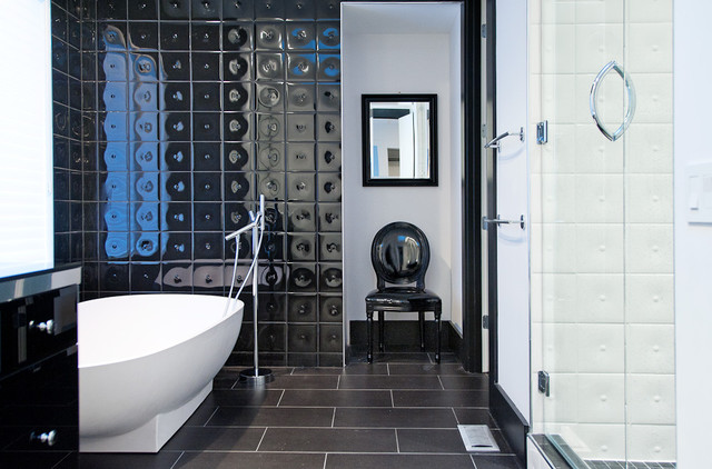 Minimal Modern Black And White Bathroom Remodel Contemporary