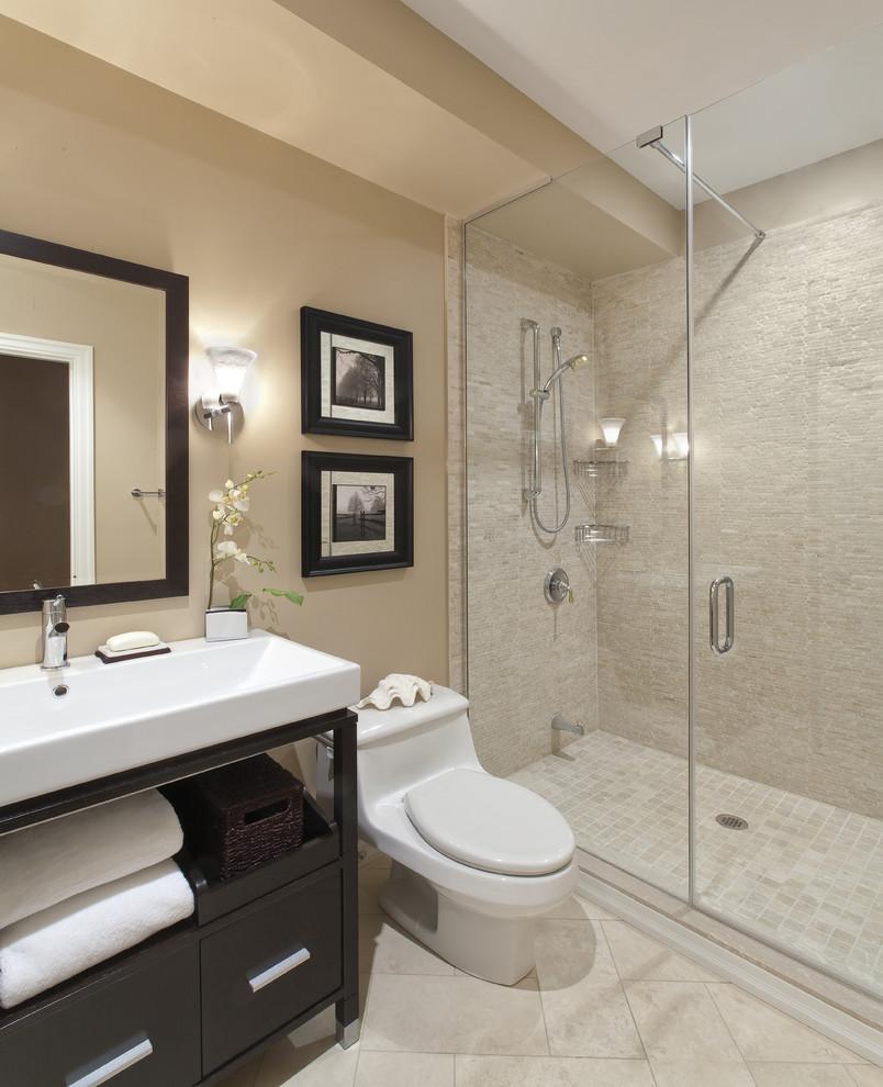 Bathroom - contemporary bathroom idea in Toronto with a vessel sink