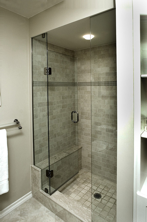 Does The Glass Door On Stall Shower Open In And Not Pull Out Have A Small Ba